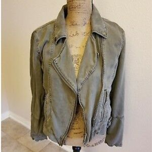 "NWT Max Jeans Tencel Lt. Olive Khaki ""Moto"" Jacket"